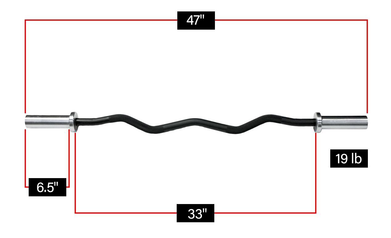 bronson ez curl bar dimensions